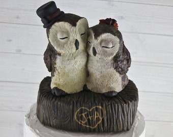 Barn Owl Wedding Cake Topper - Custom on a Stump - Birds of Prey Sculpture -