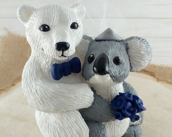 Koala and Polar Bear Wedding Cake Topper Bride and Groom