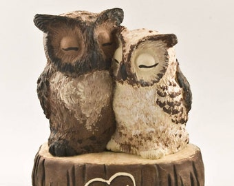 Owl Wedding Cake Topper - Great Horned Owls on a Stump