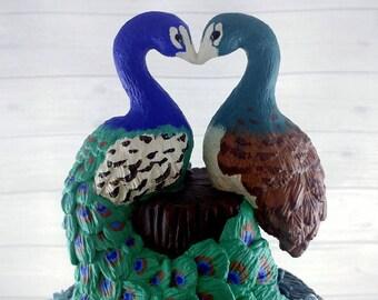 Peacock Wedding Cake Topper - Peacocks Forming a Heart