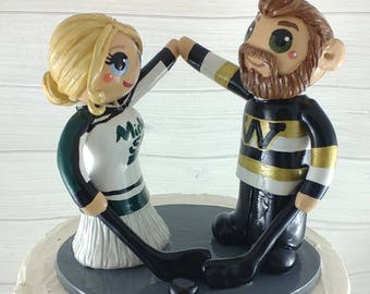 Hockey Cake Topper - Sports Bride and Groom Engagement Gift - Wedding Figurine