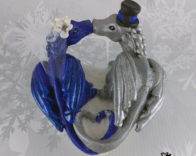 Dragons Wedding Cake Topper - Mythical Creature cake topper - Heart shaped