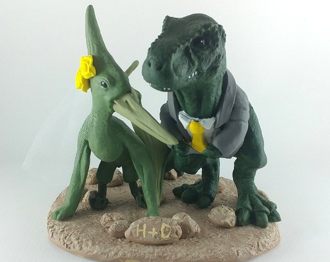 T-Rex and Pteranodon Dinosaur Cake Topper - Realistic Bride and Groom Tyrannosaurus Rex Pterodactyl