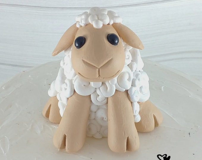 Cartoon Sheep Sculpture - Lamb Cake Topper - Birthday Gift