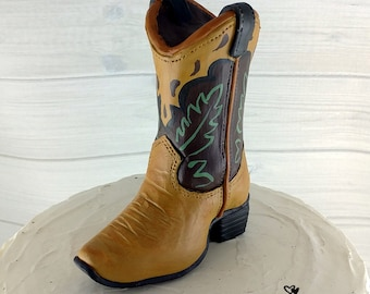 Cowboy Boot Shoe Cake Topper - Cowgirl Decoration - Shoe Figurine - Ornament - Rancher Gift - Dairy Farm Ornament