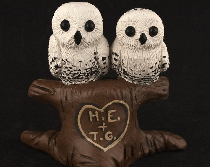 Owls Cake Topper - Owls Cuddling in a Tree Wedding Figurine - Engagement Celebration Centerpiece - Sculpture