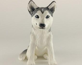 Dog Husky Sculpture - Realistic Dog Figurine -  Husky Wedding Cake Topper - Pick your colors
