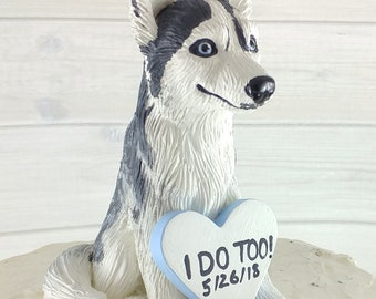 Dog Husky Sculpture - Realistic Dog Figurine - Husky Wedding Cake Topper - Pet Portrait Sled Dog Memorial Keepsake