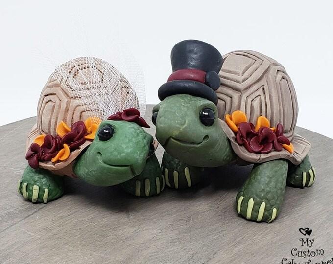 Land Turtle Wedding Cake Topper Custom - Realistic Bride and Groom