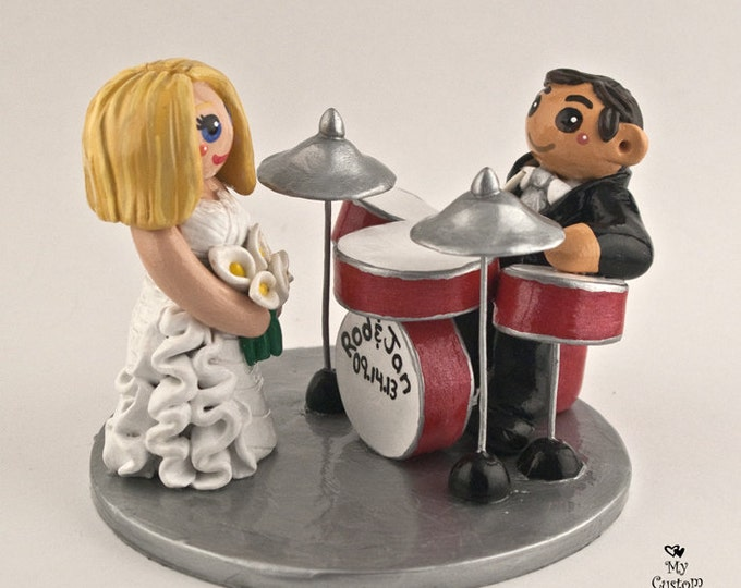 Drums Bride and Groom Wedding Cake Topper