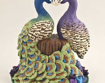 Peacocks Wedding Cake Topper - Love Birds Heart - Pick Your Colors and Flowers