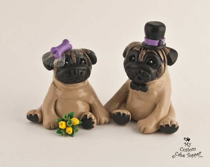 Pug Dog Wedding Cake Toppers - Pick your Colors and Accessories