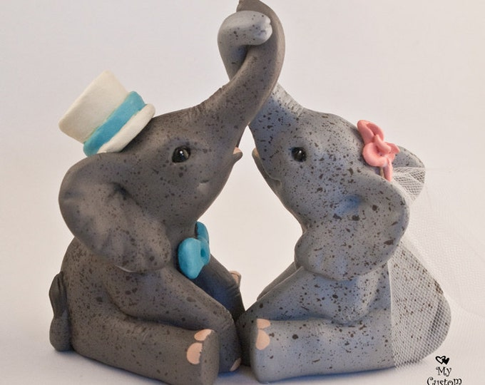 Elephant Wedding Cake Topper - Sitting joined trunks - Tying the knot