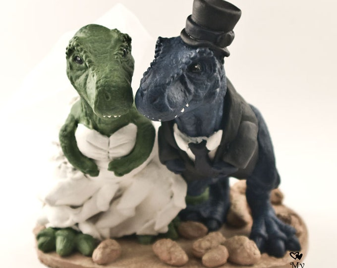 T-Rex Dinosaur Wedding Cake Topper - Realistic Dino Bride and Groom