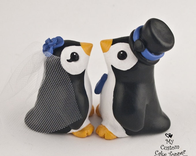 Penguin Wedding Cake Topper - Cute Little Penguins