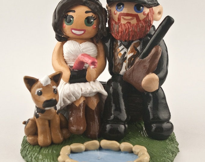Hunting Cake Topper - Custom Fishing Bride and Groom Wedding Cake Figurine Sculpture - Anniversary Gift - Engagement Party