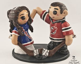 Hockey Cake Topper Bride and Groom - Wedding Figurine - Centerpiece Engagement Gift
