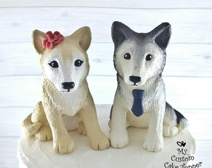Wolf Wedding Cake Toppers - Choose your Colors