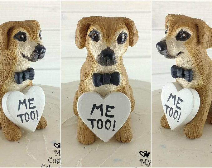 Dog Puggle Sculpture - Realistic Dog Figurine - Puggle Wedding Cake Topper