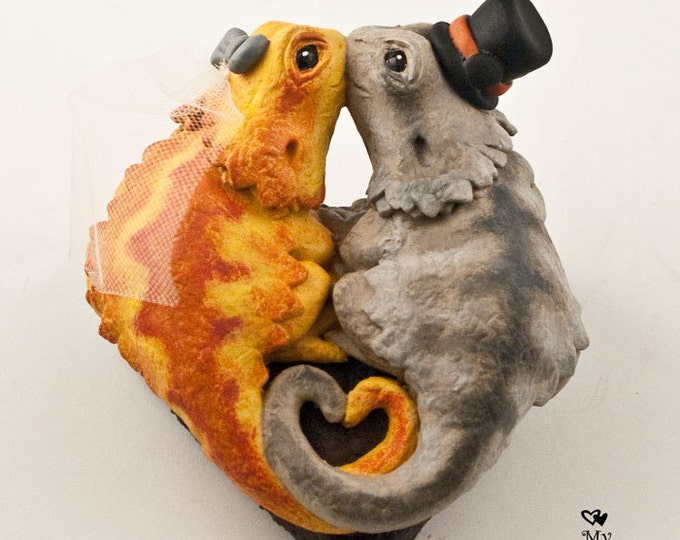 Bearded Dragons Wedding Cake Topper - Pick your colors