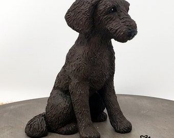 Dog Labradoodle Sculpture - Realistic Dog Figurine - Labradoodle Wedding Cake Topper - Pet Portrait Keepsake Memorial