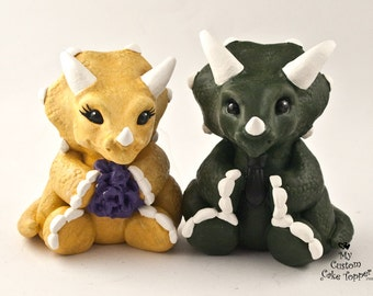Triceratops Wedding Cake Topper - Cute Dino Bride and Groom