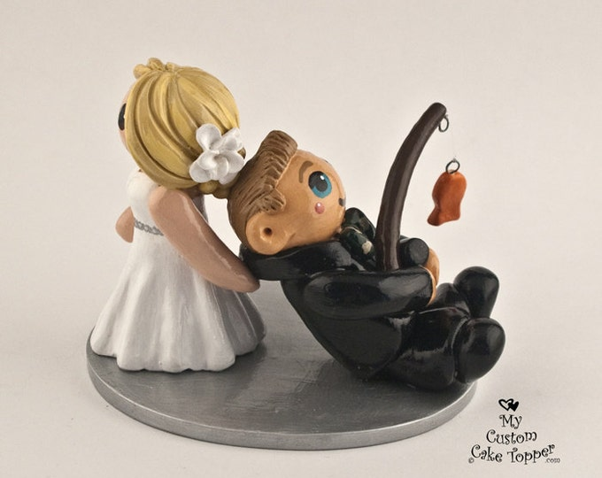 Fishing Cake Topper Wedding Figurine - Bride and Groom Fisherman Anniversary Gift