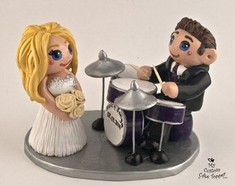 Bride and Groom Drums Wedding Cake Topper Figurine - Playing Musical Instrument