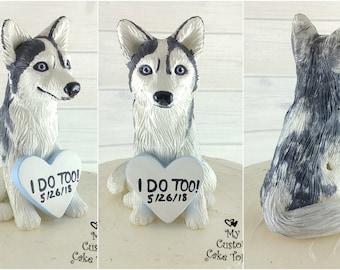 Dog Husky Sculpture - Realistic Dog Figurine - Husky Wedding Cake Topper