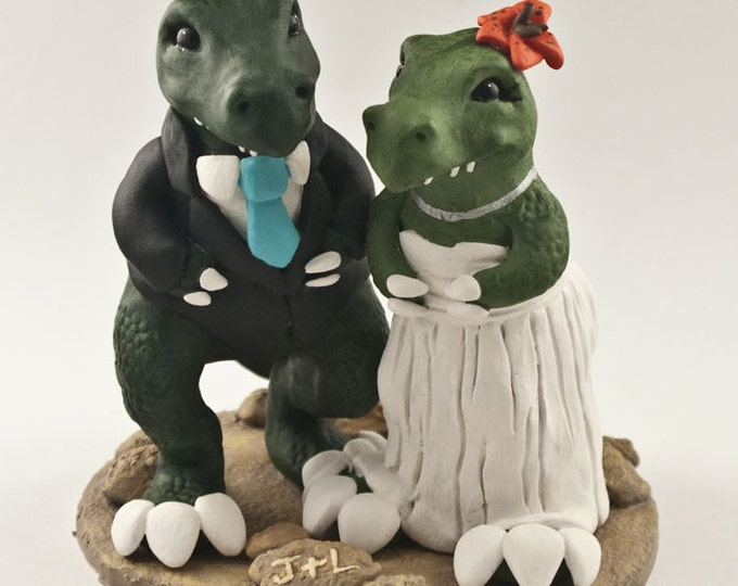 T-Rex Dinosaur Wedding Cake Topper - Cartoon Dino Bride and Groom