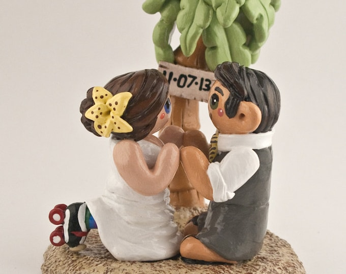 Beach Bride and Groom Wedding Cake Topper - Palm Tree Destination Wedding