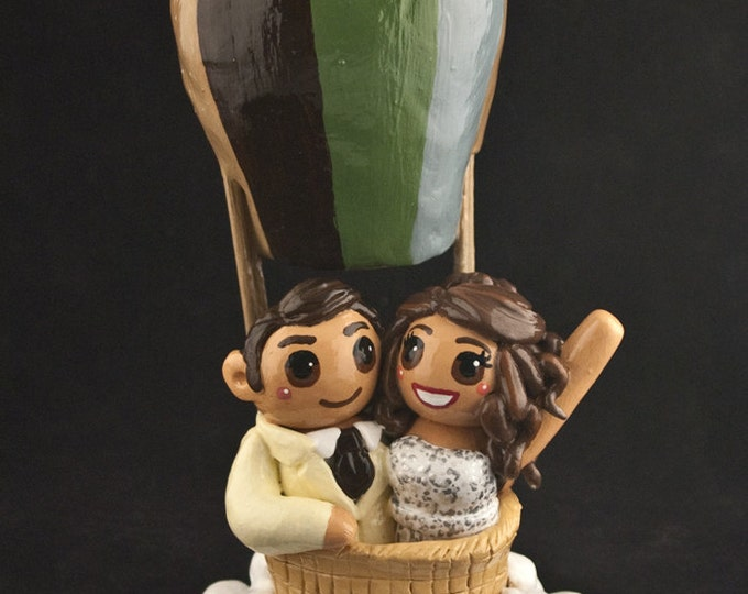 Bride and Groom Hot Air Balloon Wedding Cake Topper