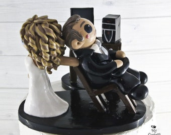 Computer Bride and Groom Wedding Cake Topper - Dragging away from Games