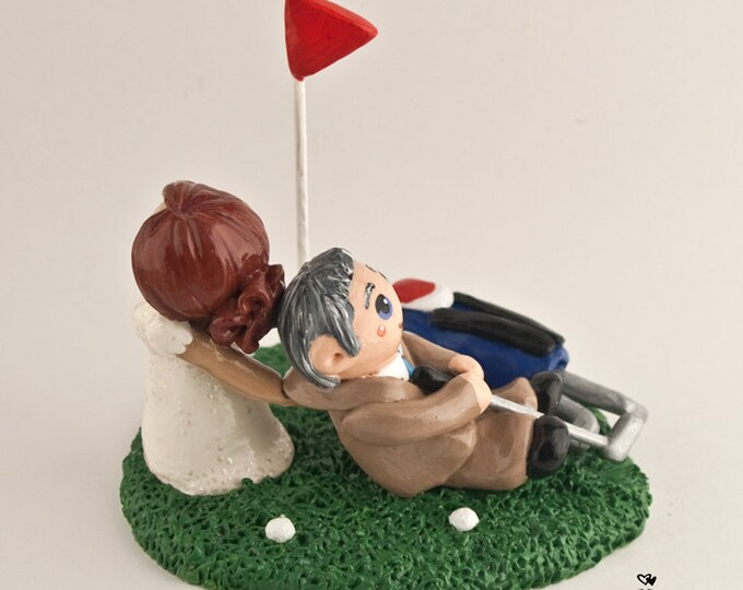 Golf Cake Topper - Summer Sport Bride and Groom Custom Wedding Cake Figurine - Anniversary Gift