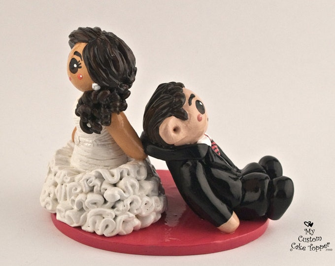 Bride Dragging Groom Cake Topper Wedding Figurine - Anniversary Gift - Engagement Present