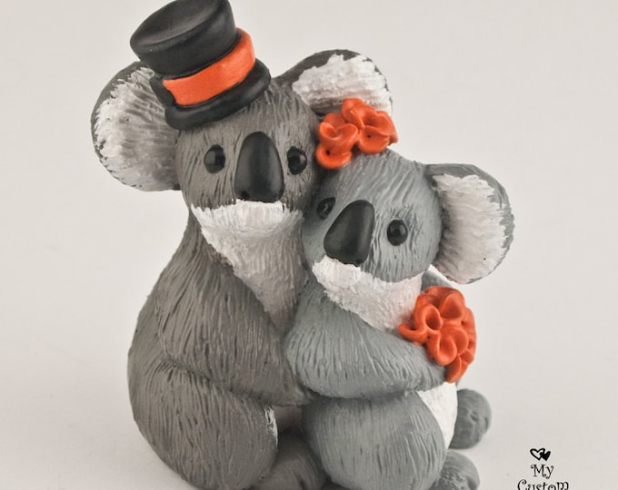 Koala Bear Wedding Cake Topper Bride and Groom