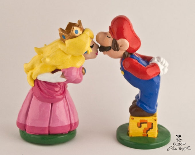 Mario Cake Topper - Mario and Peach Bride and Groom Wedding Cake Topper