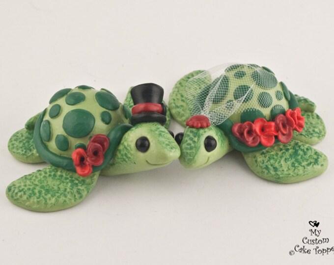 Turtles Wedding Cake Topper Sculpture - Custom Bride and Groom Keepsake - Beach Wedding