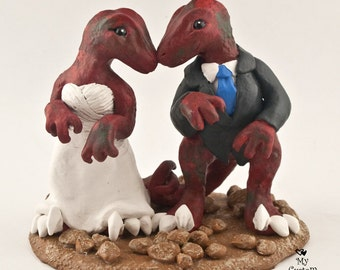 Raptors Dinosaur Wedding Cake Topper Figurine - Realistic Dino Bride and Groom Sculpture