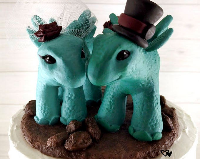 Stegosaurus Dinosaur Wedding Cake Topper - Realistic Dino Bride and Groom