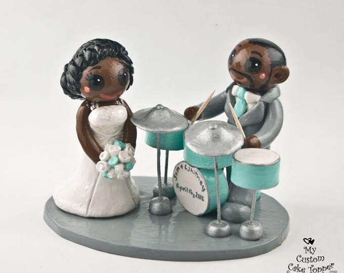 Bride and Groom Drums Custom Wedding Cake Topper Figurine - Playing Musical Instruments - Ethnic Anniversary Gift - Musician Wedding