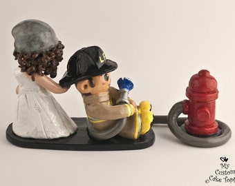 Fireman Bride and Groom Wedding Cake Topper