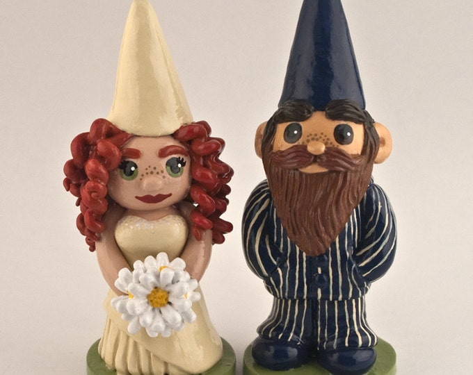 Gnome Bride and Groom Wedding Cake Topper