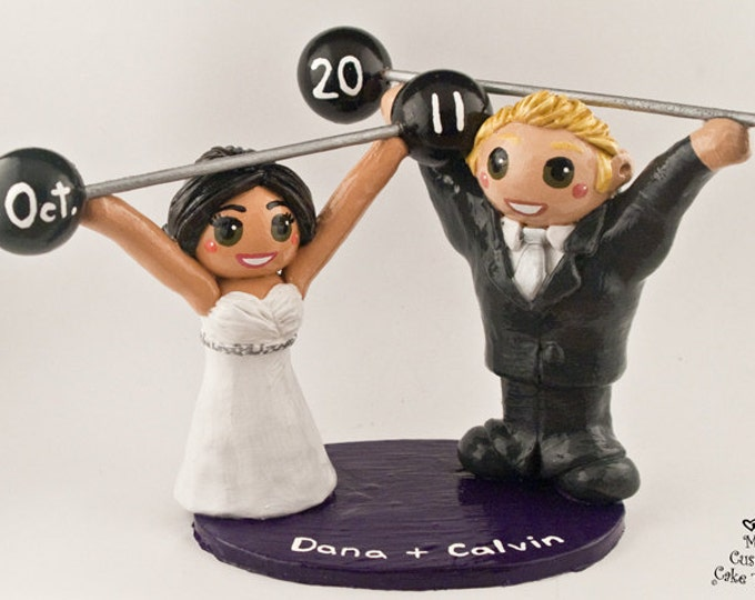 WeightLifting Cake Topper - Crossfit Bride and Groom Wedding Cake Topper Figurine - Olympic Sport Strength Strong Snatch Clean Jerk