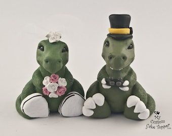T-Rex Cake Topper Bride and Groom