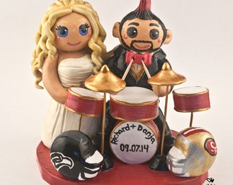 Bride and Groom Drums Wedding Cake Topper Figurine - Musician Wedding - Anniversary Gift