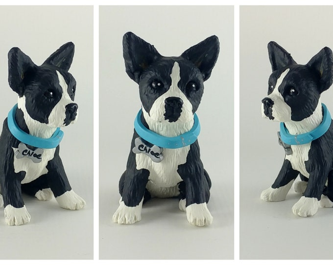 Dog Boston Terrier Sculpture - Realistic Dog Figurine - Boston Terrier Wedding Cake Topper