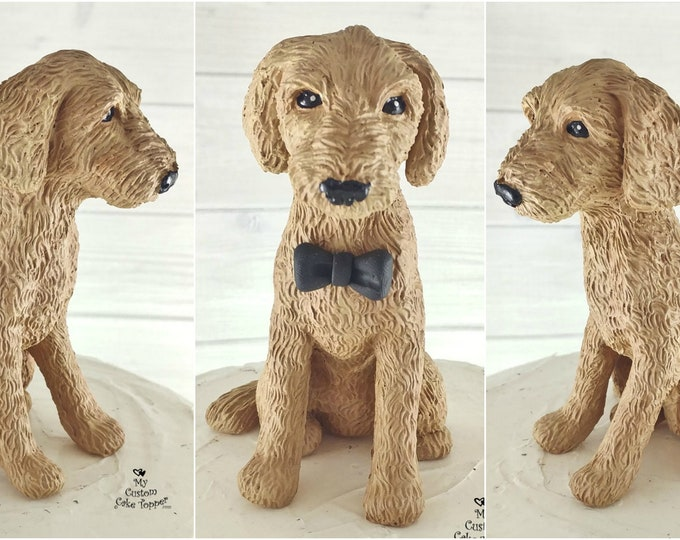 Dog Labradoodle Sculpture - Realistic Dog Figurine - Labradoodle Wedding Cake Topper