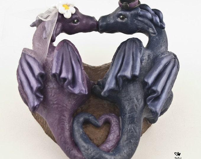 Dragons Wedding Cake Topper -  Heart shaped
