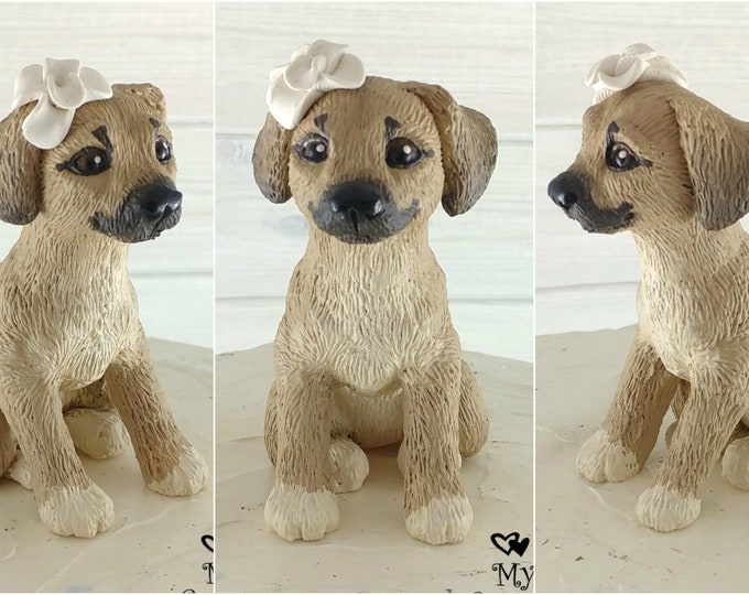 Dog Puggle Female Sculpture - Realistic Dog Figurine - Puggle Wedding Cake Topper